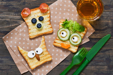 Baby Funny toast - breakfast for children.