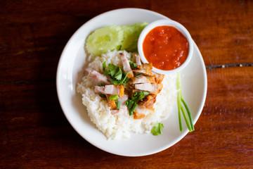 Thai crispy pork on rice