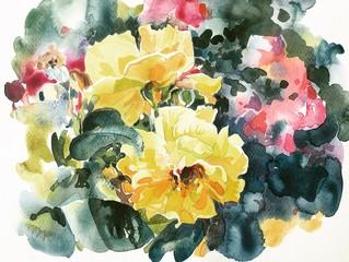 yellow roses hand painting watercolor artwork