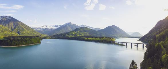 Germany, Bavaria, Sylvenstein Dam, View to Karwendel mountains in Austria