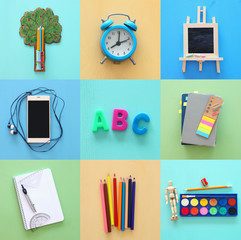 Back to school collage concept. school objects and supply.