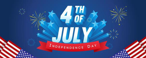4th of July Banner Vector illustration. Fireworks celebrations with USA flag frame on blue background.