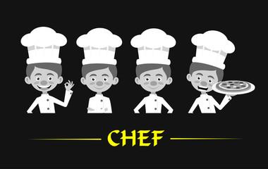 Chef Vector Illustration Design -  Black and white