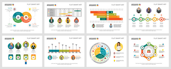 Colorful economy or research concept infographic charts set. Business design elements for presentation slide templates. For corporate report, advertising, leaflet layout and poster design. Wall mural