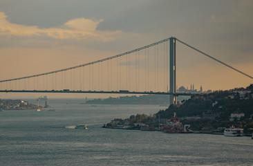 Bosphorus Bridge and Hagia Sophia before sunset in Istanbul