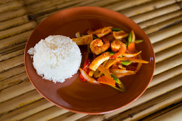 Thai red curry paste seafood