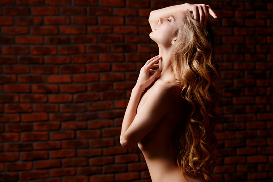 woman with bare breast