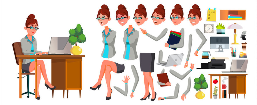 Office Worker Vector. Woman. Animation Creation Set. Secretary, Accountant. Professional Officer, Scene Generator. Clerk. Business Female. Front, Side View. Lady Face Emotions, Gestures. Illustration