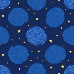 Seamless pattern with creative circles and stars.