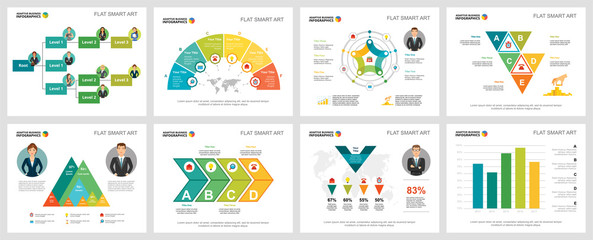 Colorful statistics and logistics infographic charts set. Business design elements for presentation slide templates. Consulting concept can be used for annual report, flyer layout and banner design.
