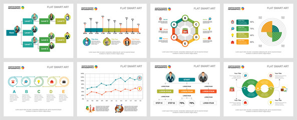Colorful statistics or planning concept infographic charts set. Business design elements for presentation slide templates. For corporate report, advertising, leaflet layout and poster design.