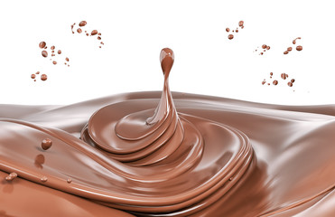 Splash chocolate isolated illustration 3d rendering