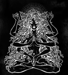 Beautiful ancient magic occult many armed goddess girl in lotus position with long hair, six hands