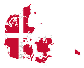Flag of Denmark in country silhouette. Danish national state ensign, a white Scandinavian Cross on a red field. Kingdom and Nordic country in Europe. Isolated illustration on white background. Vector.