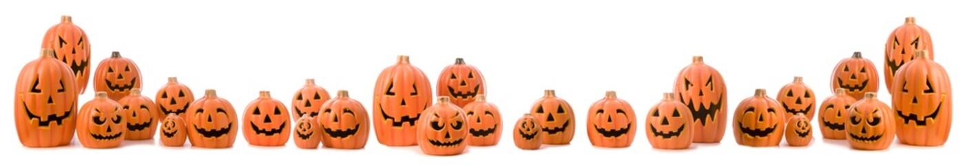 Halloween set of  jack-o-lanterns isolated on white