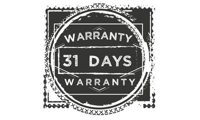 31 days warranty icon vintage rubber stamp guarantee