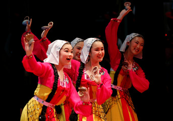 High school students from a dance club at Kanagawa Korean Middle and High School perform a traditional dance at a local international day event to promote a multicultural society in Yokohama