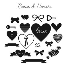 Set of cliparts: bows, hearts, keys and ribbons on white background