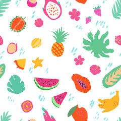 Minimal summer trendy vector tile seamless pattern in scandinavian style. Exotic fruit slice, palm leaf hibiscus flower. Textile fabric swimwear graphic design for print isolated on white.