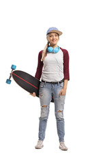 Skater girl with a longboard