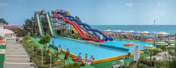 SOCHI, RUSSIA - JUNE 12, 2017: Water park on the waterfront.