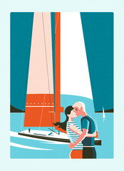 Couple kissing on background of sea and sailing yacht