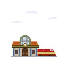 Railway station flat design vector illustration