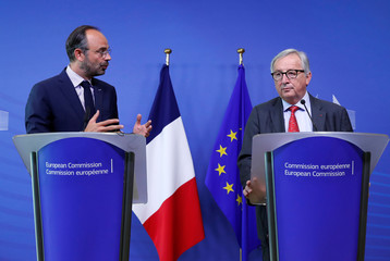 French Prime Minister Philippe and EU Commission President Juncker hold a joint news conference at the EC headquarters in Brussels