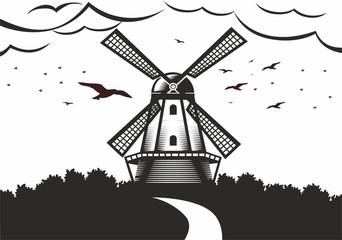 illustration of a mill