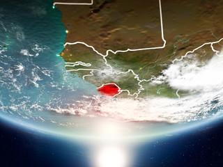 Sierra Leone with sun on planet Earth