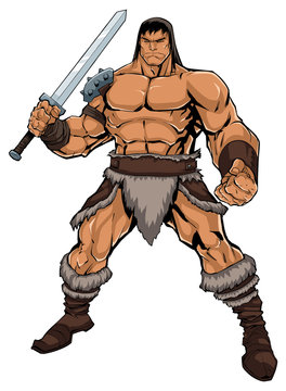 Barbarian on White / Comics style illustration of muscular barbarian warrior isolated on white background.