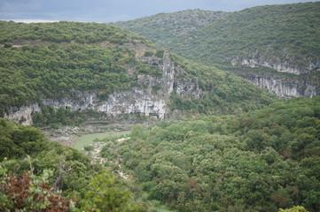 Scenery in the Groges de l'Ardeche near Vallon-Pont-d'Arc