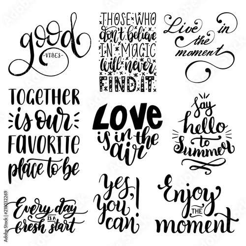 Vector Set Of Hand Lettering With Motivational Phrases Calligraphy
