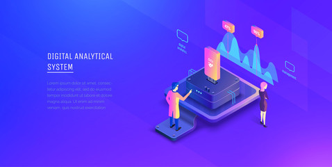 Data analysis. The specialist analyzes the system data and examines the indicators. Data management. Modern vector illustration isometric style.