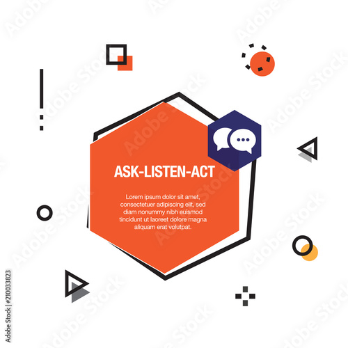 ask listen act infographic icon stock image and royalty free vector