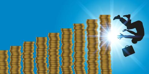 business - faillite - concept - chute - crash - gagner de l'argent - boursier - bourse - dette