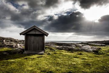 Holzhütte an der Schwedischen Küste