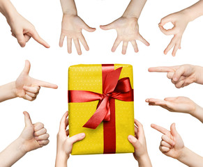 Set of children hands gesturing and holding present