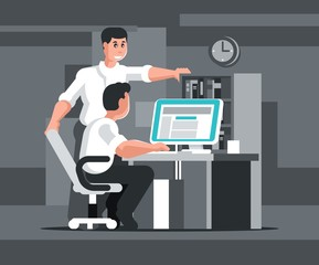 Startup concept in programming. Team work on software development