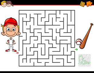 cartoon maze activity with boy and baseball