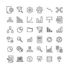 Premium set of big data line icons.