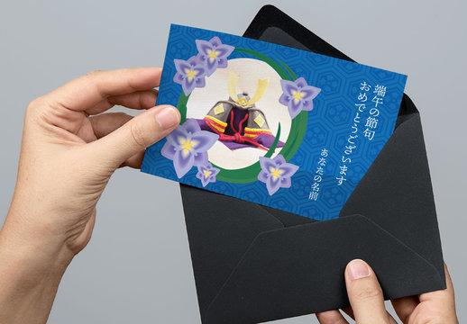 子供の日 菖蒲の花のハガキレイアウト
