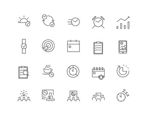 Time management icon set. Thin line flat design. Icons for management, business, strategy, planning, analytics, communication, social network.