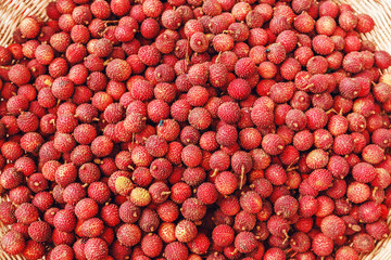Lychees fruit on a street market.