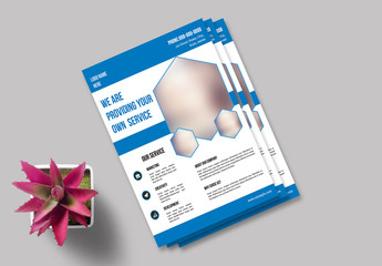 Business Flyer Layout with Polygonal Photo Elements