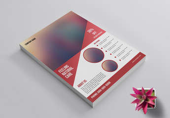 Business Flyer Layout with Red Accents and Photo Header