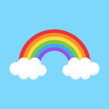 Simple colorful cute rainbow vector illustration. Rainbow on light blue background with two clouds with shadow.