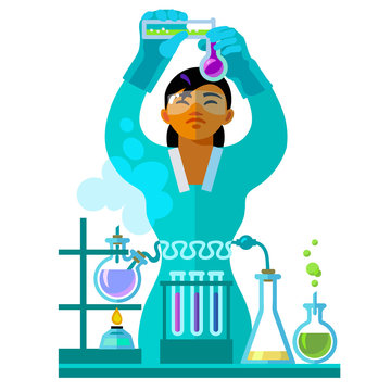 Beautiful young woman scientist working in the laboratory.