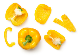 Yellow Peppers Isolated on White Background Fototapete