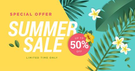 Summer sale vector illustration for mobile and social media banner, poster, shopping ads, marketing material